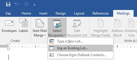 Data source for mail merge