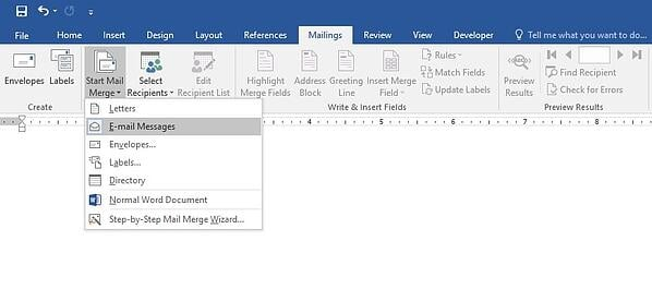 Mail merge in MS Word