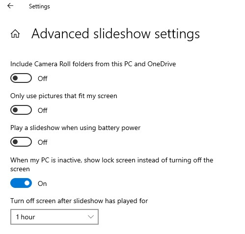 Optional Advanced slideshow settings
