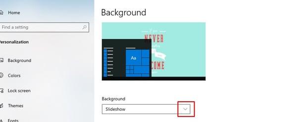 Set the Background settings to slideshow