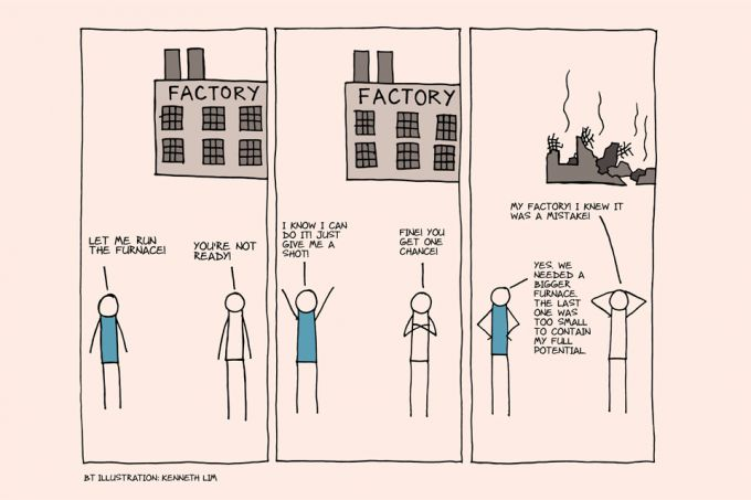 dunning kruger effect over confidence factory burned down stick figures